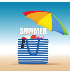 hallo summer on color bag with beach accesoir vector image vector image