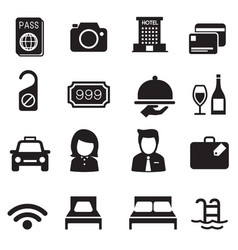Hotel silhouette icons set vector