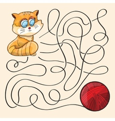 Kitten And Wool Ball vector image vector image