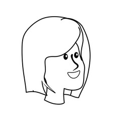 Line happy cute woman face with hairstyle vector