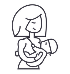 mother breastfeeding baby line icon sign vector image vector image