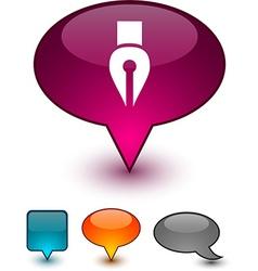Pen speech comic icons vector
