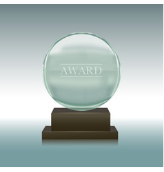 realistic glass or crystal prize plate vector image vector image