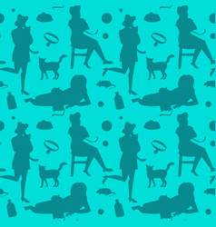 Retro woman with cat fashion seamless pattern vector