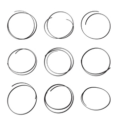 Set hand drawn ovals felt-tip pen circles vector