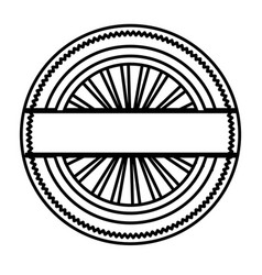Silhouette circular shape stamp with striped vector