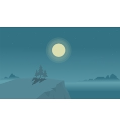 Silhouette of cliff and lake at night vector