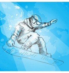 Snowboarding hand drawn vector