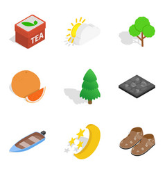 Spring vacation icons set isometric style vector