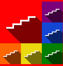 Stair up sign set of icons with flat vector