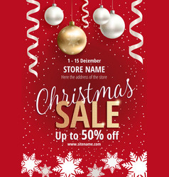 the christmas sale red poster for shop vector image