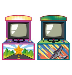 Two arcade game boxes vector