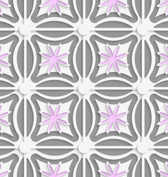 White dots and pink flowers cut out o paper vector