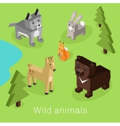 Wild animal set isometric 3d design vector
