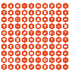 100 food shopping icons hexagon orange vector image vector image