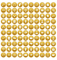 100 interaction icons set gold vector