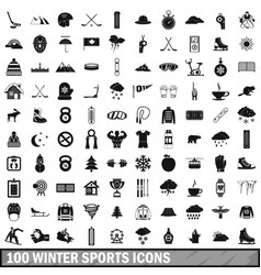 100 winter sport icons set simple style vector image vector image