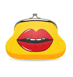 Female wallet in pop art style with dots and lips vector