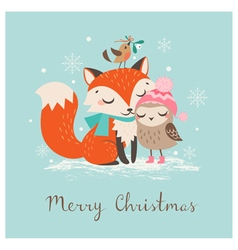 Christmas fox and owl vector