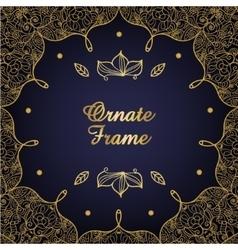 Vintage ornate card golden eastern floral decor vector