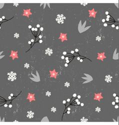 Winter floral seamless pattern vector