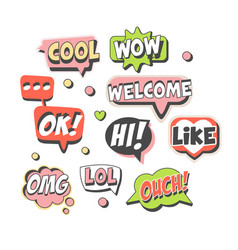 Trendy speech bubbles set for label design speech vector