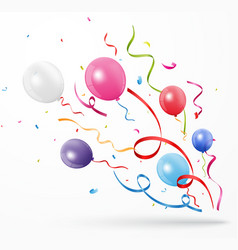 Colorful party confetti with balloon on white back vector