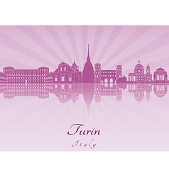 Turin skyline in purple radiant orchid vector image