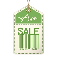 Vintage sale tag with stitches vector