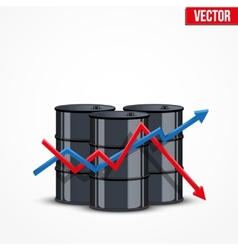 Oil barrels on the price chart background vector image