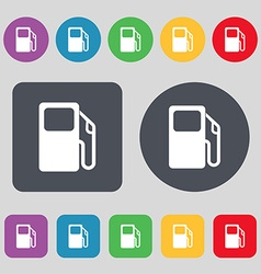 Auto gas station icon sign a set of 12 colored vector