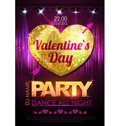 Love heart background valentine disco party vector
