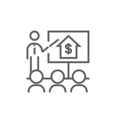 Real estate training line icon vector