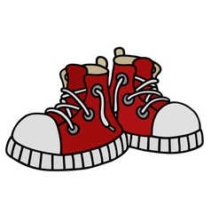 Funny red sneakers vector