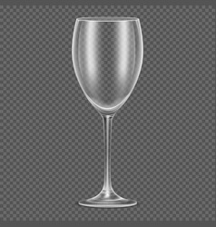 Transparent realistic empty wine glass vector