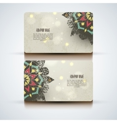 Set of abstract visit cards with indian vector