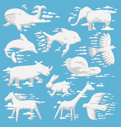 Animal clouds white overcast silhouette kids vector