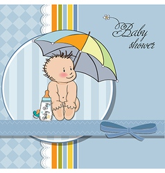 baby boy shower card with funny baby under his vector image vector image