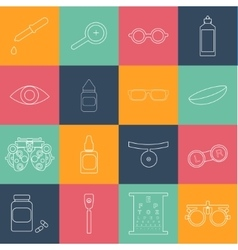 Black optometry icon set in thin line style vector