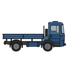 Blue flatbed truck vector