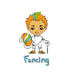 Boy fencer with a mask vector image vector image
