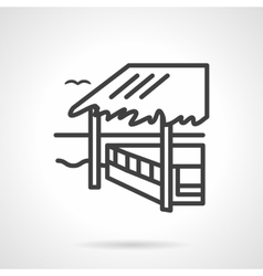 Bungalow black line design icon vector image
