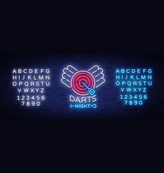 darts neon sign bright vector image