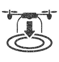 Drone Landing Grainy Texture Icon vector image