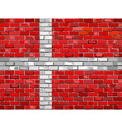 Flag of denmark on a brick wall vector
