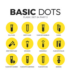 Flask flat icons set vector
