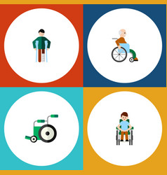 Flat icon cripple set of equipment disabled vector