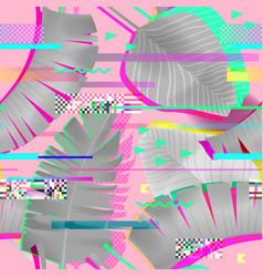 Glitch effect seamless pattern tropical elements vector