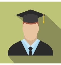 Graduate flat icon vector image vector image