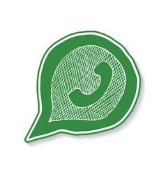 Green phone handset in speech bubble hand drawn vector